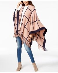 Vince Camuto - Feels Like Check Fringe Poncho - Lyst