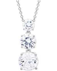 """Giani Bernini - Cubic Zirconia Graduated 18"""" Pendant Necklace In Sterling Silver, Created For Macy's - Lyst"""