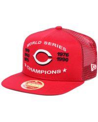 online store 422cd 8f721 KTZ - Cincinnati Reds Team Front Trucker 9fifty Snapback Cap - Lyst