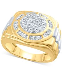 Macy's - Men's Diamond Cluster Two-tone Ring (1 Ct. T.w.) In 10k Gold & White Gold - Lyst