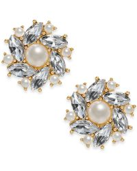 Charter Club - Gold-tone Imitation Pearl & Crystal Stud Earrings, Created For Macy's - Lyst
