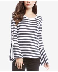 Karen Kane - Striped Lace-up-sleeve Top - Lyst