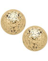 Macy's - Crystal-cut Ball Stud Earrings In 14k Gold - Lyst