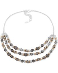 """Nine West - Tri-tone Bead Layered Statement Necklace, 16"""" + 2"""" Extender - Lyst"""