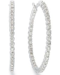 Macy's | Diamond In-and-out Hoop Earrings In 14k White Gold (1 Ct. T.w.) | Lyst