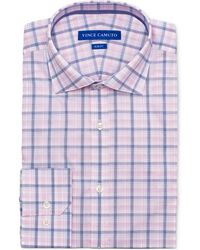 Vince Camuto - Slim-fit Comfort Stretch Coral Plaid Dress Shirt - Lyst