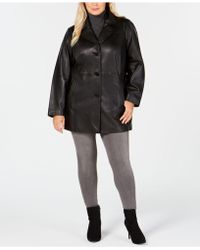 Anne Klein - Plus Size Notch-collar Leather Coat - Lyst