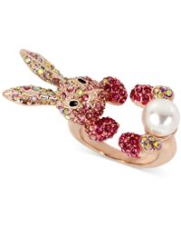 Betsey Johnson - Rose Gold-tone Pink Pavé & Imitation Pearl Bunny Ring - Lyst
