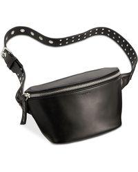 3437dbe0bec Calvin Klein Suede & Leather Belt Bag in Black - Lyst