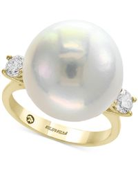 Effy Collection - Pearl By Effy® Cultured Freshwater Pearl (15-1/2mm) & Diamond (3/8 Ct. T.w.) Ring In 14k Gold - Lyst