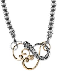 "Macy's - Swirl 20"" Statement Necklace In Sterling Silver & Brass - Lyst"