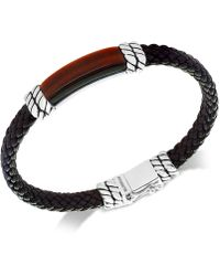 Effy Collection | Men's Tiger's Eye Brown Leather Bracelet In Sterling Silver | Lyst