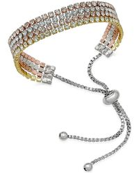 Joan Boyce Tri-tone Multi-layer Crystal Slider Bracelet