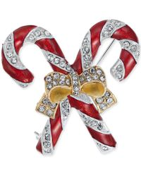 Charter Club - Gold-tone Crystal & Epoxy Candy Cane Ribbon Pin, Created For Macy's - Lyst