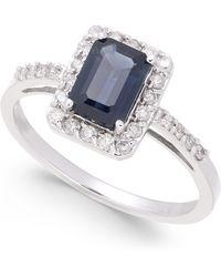 Macy's Sapphire (1-1/6 Ct. T.w.) & Diamond (1/4 Ct. T.w.) Ring In 14k White Gold - Metallic