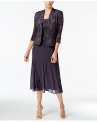 Alex Evenings - Sleeveless Jacquard Sparkle Dress And Jacket - Lyst
