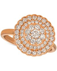 Le Vian - Strawberry & Nudetm Diamond Halo Cluster Ring (1 Ct. T.w.) In 14k Rose Gold - Lyst
