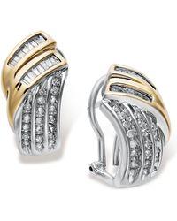 Macy's | Sterling Silver And Diamond Twist Earrings In 14k Gold (1/2 Ct. T.w.) | Lyst