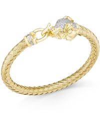 Macy's - Diamond (1/4 Ct. T.w.) And Emerald Accent Elephant Mesh Bangle Bracelet In 14k Gold-plated Sterling Silver - Lyst