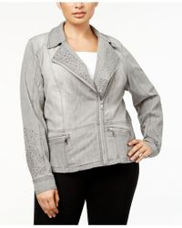 INC International Concepts - Plus Size Studded Moto Jacket - Lyst