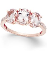Macy's - Morganite (2 Ct. T.w.) And Diamond (1/10 Ct. T.w.) Ring In 14k Rose Gold - Lyst