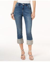 INC International Concepts - I.n.c. Petite Embroidered-cuff Cropped Skinny Jeans, Created For Macy's - Lyst