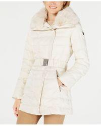 Laundry by Shelli Segal - Faux-fur-collar Asymmetrical Puffer Coat - Lyst