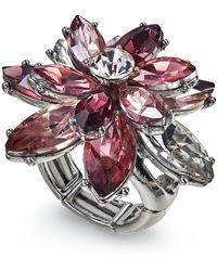 Charter Club - Silver-tone Crystal Flower Stretch Ring, Created For Macy's - Lyst