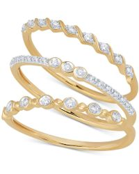 Macy's - 3 Pc. Set Diamond Stack Rings (1/6 Ct. T.w.). - Lyst