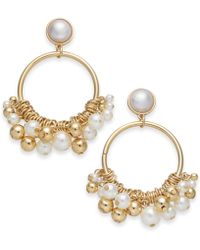 """INC International Concepts - I.n.c. Extra Large 2.75"""" Gold-tone Imitation Pearl Shaky Drop Hoop Earrings, Created For Macy's - Lyst"""
