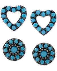 Macy's - 2-pc. Set Manufactured Turquoise Heart And Oval Stud Earrings In Sterling Silver - Lyst