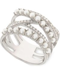 Macy's - Cultured Freshwater Pearl (2mm) & Diamond (1/4 Ct. T.w.) Crisscross Ring In Sterling Silver - Lyst