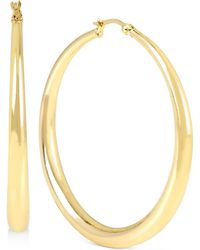 Touch Of Silver   Round Hoop Earrings In 14k Gold-plated Brass   Lyst