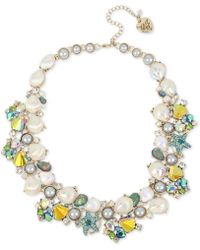 "Betsey Johnson - Gold-tone Crystal & Imitation Pearl Shell Cluster Collar Necklace, 17"" + 3"" Extender - Lyst"