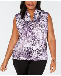 Nine West - Plus Size Printed Inverted-pleat Top - Lyst