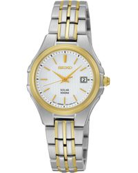 Seiko - Watch, Women's Solar Two Tone Stainless Steel Bracelet 28mm Sut038 - Lyst