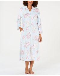 Miss Elaine - Printed Brushed Fleece Zip Robe - Lyst