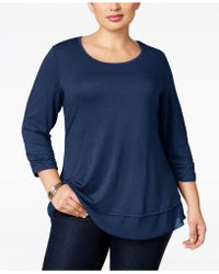 Style & Co. - Plus Size Three-quarter-sleeve Chiffon-hem Top - Lyst