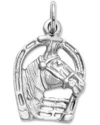 Macy's - 14k White Gold Charm, Horse Head In Horseshoe Charm - Lyst