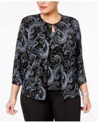 Alex Evenings - Plus Size Glitter Paisley-print Jacket & Shell - Lyst