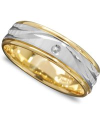 Macy's - 14k Gold And 14k White Gold Ring, Wave Engraved Band - Lyst