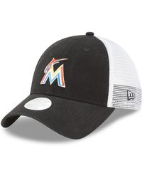new concept 6bb92 8b498 KTZ - Miami Marlins Trucker Shine 9twenty Cap - Lyst