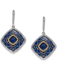 Macy's - Lapis Lazuli (19mm) Filigree Drop Earrings In Sterling Silver & 14k Gold - Lyst