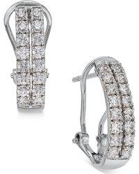Macy's - Diamond Two-row Hoop Earrings (1 Ct. T.w.) In 14k White Gold - Lyst