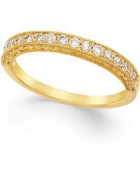 Macy's - Diamond Milgrain Band In 14k Gold (1/4 Ct. T.w.) - Lyst