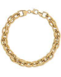 Macy's - Interwoven Textured Link Bracelet In 14k Gold - Lyst