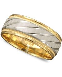 Macy's - Men's 14k Gold And 14k White Gold Ring, Spiral Dome Band - Lyst