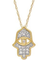 Macy's - Diamond Hamsa Pendant Necklace (1/10 Ct. T.w.) In 10k Gold - Lyst
