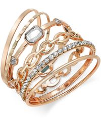 INC International Concepts - Gold-tone Crystal Enhanced Multi-bangle Bracelet - Lyst