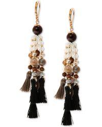 Lonna & Lilly - Gold-tone Bead & Tassel Chandelier Earrings - Lyst